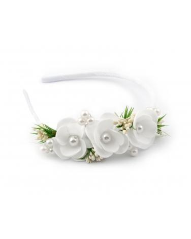 Biało-zielona opaska komunijna z perełkami białe tło