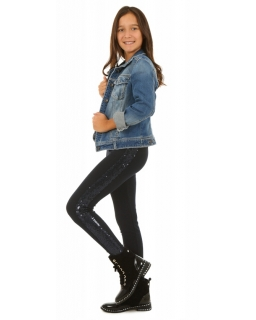 Ocieplane legginsy z połyskującym lampasem dla dziewczynki