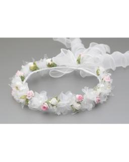 Biało-różowy wianek komunijny z różyczkami dla dziewczynki