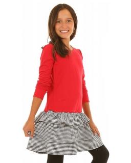 Dziewczęca sukienka z długim rękawem i wzorem w pepitkę