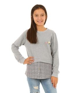 Ocieplana szara bluza z wstawką w kratkę dla dziewczynki