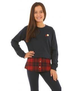 Ocieplana granatowa bluza z wstawką w kratkę dla dziewczynki