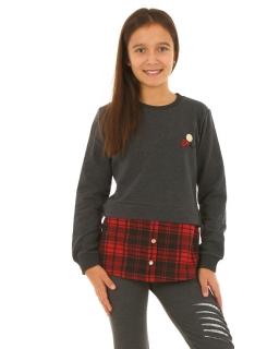 Ocieplana grafitowa bluza z wstawką w kratkę dla dziewczynki