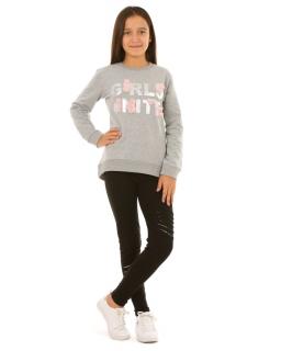 Ocieplana bluza dla dziewczynki ze srebrnym napisem