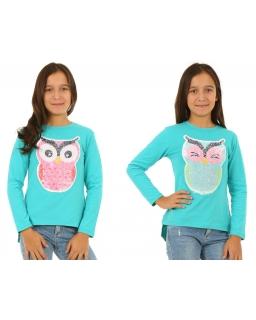 Miętowa bluzka z cekinami i długim rękawem dla dziewczynki