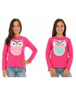 Różowa bluzka z cekinami i długim rękawem dla dziewczynki