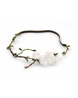 Opaska do włosów dla dziewczynki z białymi kwiatkami na gałązce