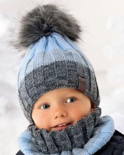 Modny zimowy zestaw chłopięcy pleciona czapka z pomponem i golf
