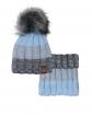 Modny zimowy zestaw chłopięcy pleciona czapka z pomponem i golf przód