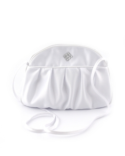 Biała torebka komunijna z elegancikm marszczeniem