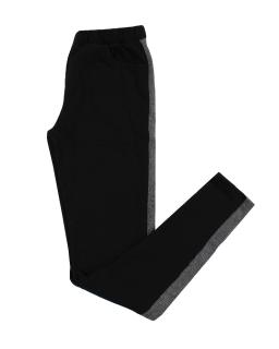 Legginsy w czarnym kolorze z lampasem na boku i gumką w pasie