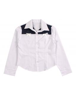 Koszula z kołnierzem dla dziewczynki 122-146 Jagoda biała