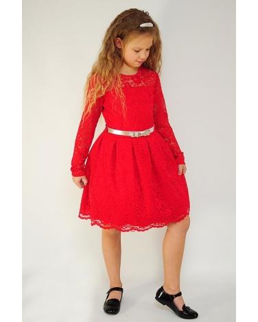 5c49449e Świąteczna sukienka z koronki 128-158 Żaneta czerwona
