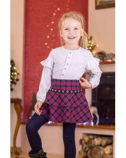 Spódniczka dziewczęca w modną kratkę z ozdobną tasiemką