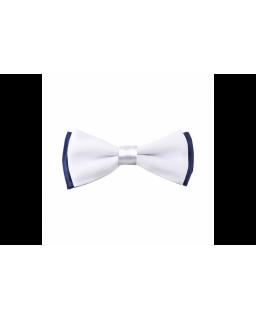 Biało-granatowa muszka z białą poszetką