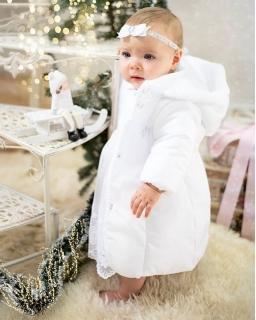 Komplet 3-częściowy do chrztu dla dziewczynki 62-80 Gwiazdka biały