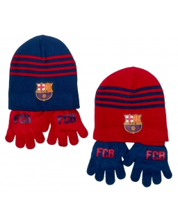 Komplet: czapka jesienna / zimowa + rękawiczki FC Barcelona