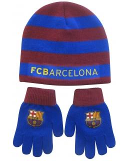 Komplet: czapka jesienna / zimowa i rękawiczki FC Barcelona
