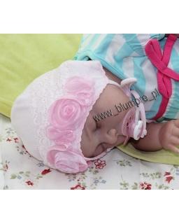 Ozdobna różowa czapka dla dziewczynki 38-44 Rózia