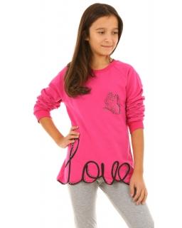 Dziewczęca bluza z napisem 134-164 KRP213 fuksja