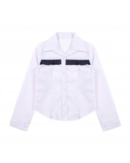 Biała bluzka dla dziewczynki z długim rękawem i kołnierzem