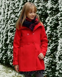 Czerwony płaszczyk dla dziewczynki z zapięciem dwurzędowym i kołnierzem sklep