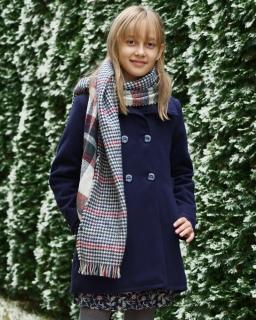 Eleganckie płaszcze dla dziewczynek, płaszczyk granatowy dziecięcy