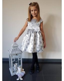 Lśniąca sukienka w kwiaty 62-152 Tacjana 6 srebro