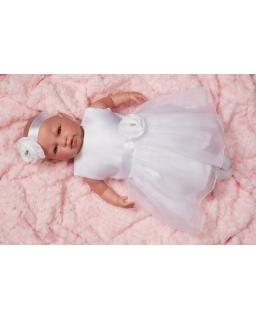 Biała sukienka do chrztu z tiulowym dołem