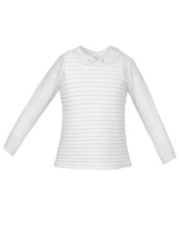 Biała bluzka z kołnierzykiem i falbankami