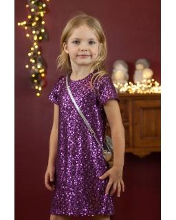 Cekinowa sukienka na zabawę w fioletowym kolorze
