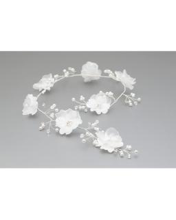 Biała gałązka komunijna z kwiatami i perełkami dla dziewczynki