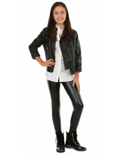 Czarne legginsy imitujące skórę dla dziewczynki