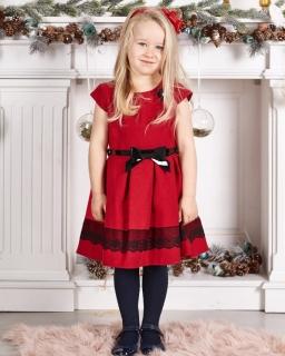 b33d761569 Dziewczęca sukienka z koronką 104-140 Luiza czerwona
