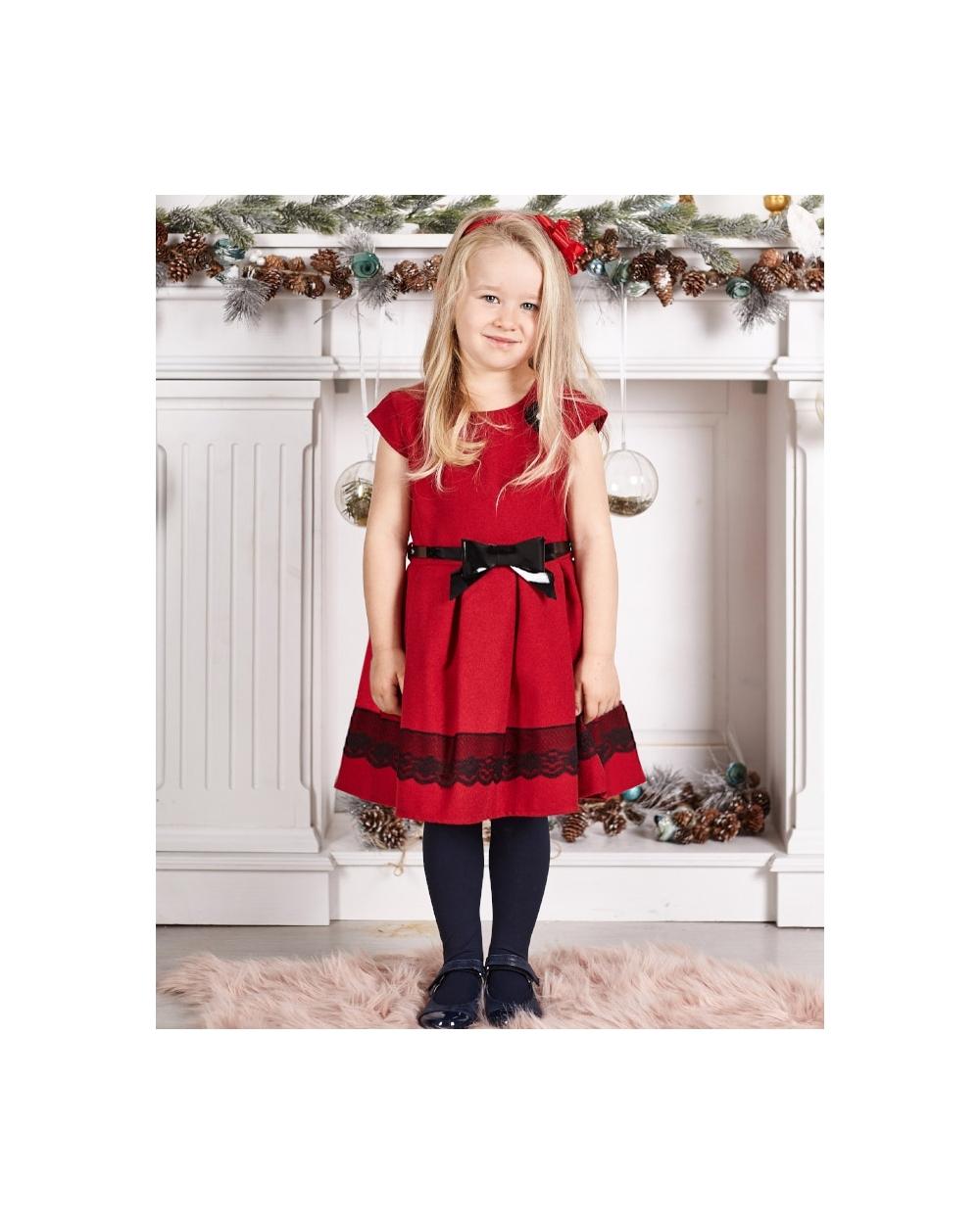 3c498f98ae Czerwona sukienka dla dziewczynki z czarnym paskiem oraz koronką przód