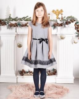Wyjątkowa sukienka z koronką 104-140 Luiza szary
