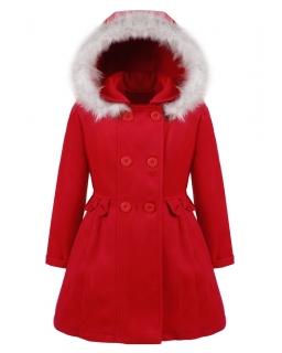 Elegancki płaszczyk dla dziewczynki czerwony