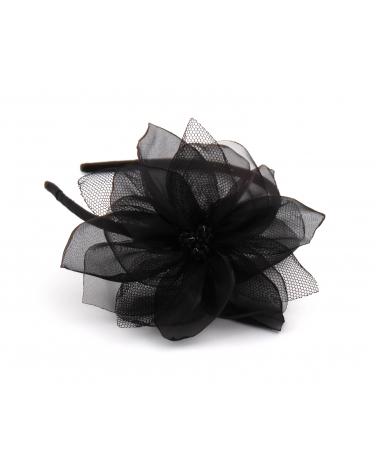 Czarna opaska z dużym kwiatkiem