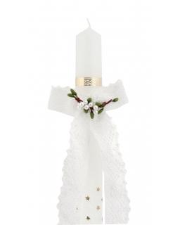 Oryginalna koronkowa ozdoba na świecę