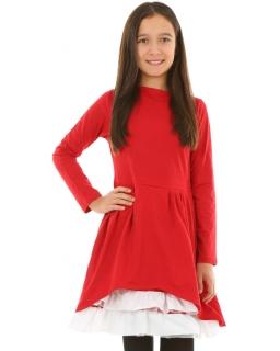 Czerwona sukienka z falbankami i długim rękawem dla dziewczynki