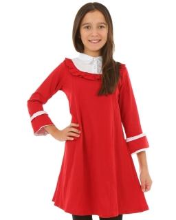 17852e9f5c Czerwona sukienka z kołnierzykiem dla dziewczynki na święta