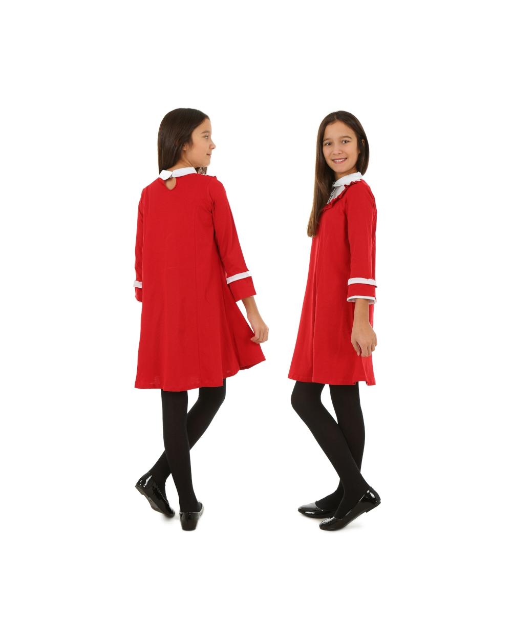 39110104f1 Czerwona świąteczna sukienka z kołnierzykiem dla dziewczynki