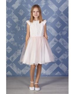 Sukienka dla dziewczynki na komunię kremowo-różowa z tiulem