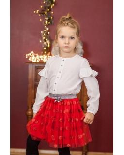 Spódniczka dla dziewczynki czerwona na święta w groszki