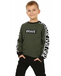 Bluza dla chłopca w kolorze khaki do szkoły przód