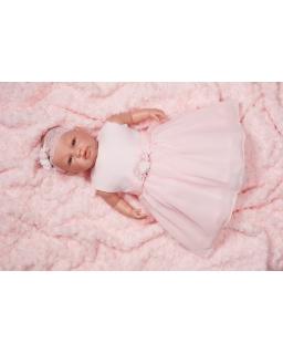 Sukienka do chrztu dla dziewczynki różowa z opaską