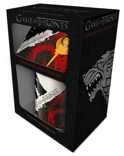 Zestaw prezentowy: kubek, podkładka, brelok do kluczy Gra o Tron (Stark & Targaryen)
