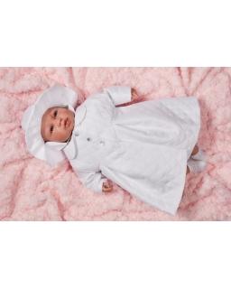 Komplet do chrztu dla dziewczynki w kolorze białym płaszczyk