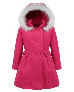 Płaszcz flauszowy z kapturem 86-134 Mirabella różowy