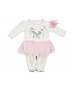 Pajac niemowlęcy z różową falbanką tiulową